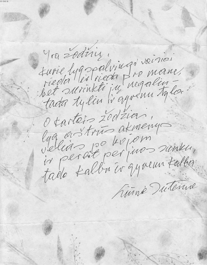 """Eilėraštis iš knygos """"Tebūnie"""" (2006)"""