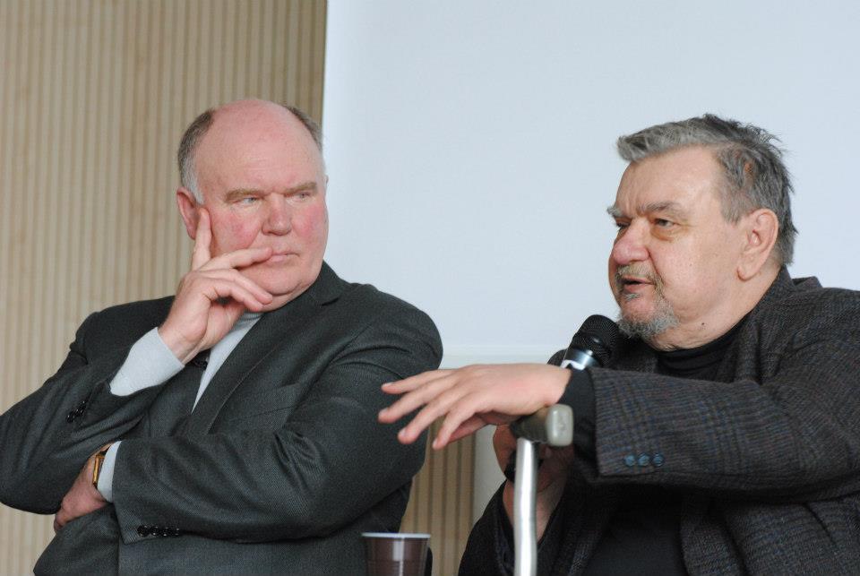 Valentino Sventicko ir Romualdo Granausko pokalbis. Benedikto Januševičiaus nuotrauka