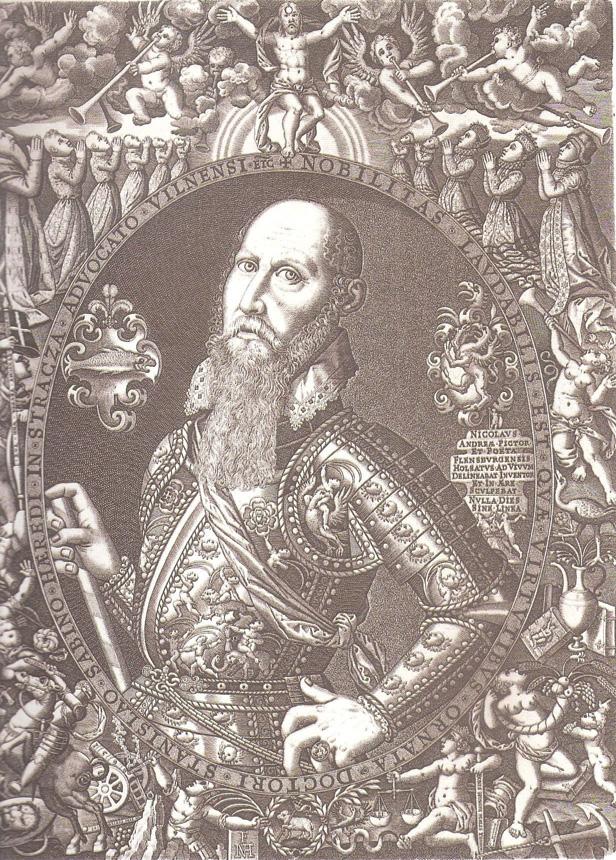 """Nikolajus Andrea Flensburgietis. """"Vilniaus vaito Stanislovo Sabino portretas"""", vario raižinys, XVI a."""