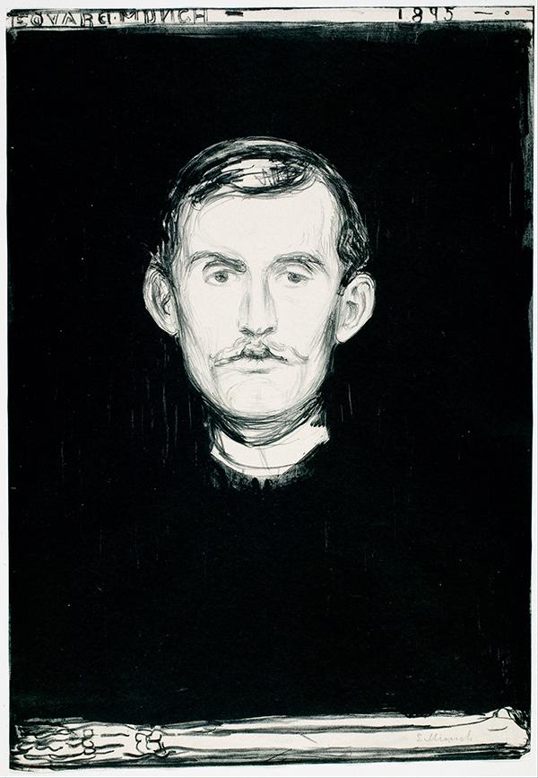 Edvardas Munkas. Autoportretas su skeleto ranka, 1895