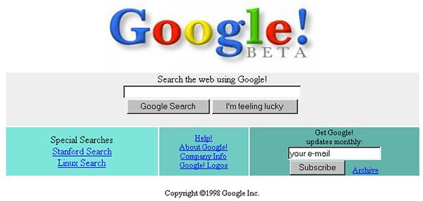 Google 1998 m.