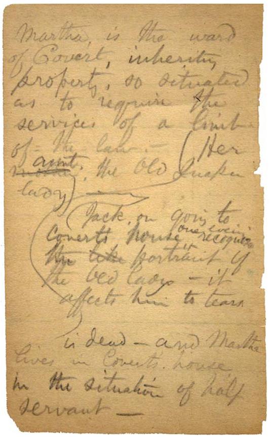 """""""Džeko Englio gyvenimo ir nuotykių"""" juodraštis. Kongreso bibliotekos nuosavybė"""