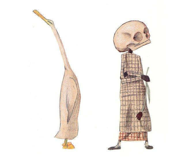 """Wolfo Erlbrucho knygos """"Antis, mirtis ir tulpė"""" iliustracija"""