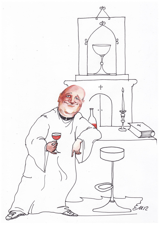 """Edmundas Unguraitis (Vilnius, Lietuva). Iš socialinės karikatūros konkurso """"Vynas ir kava"""""""