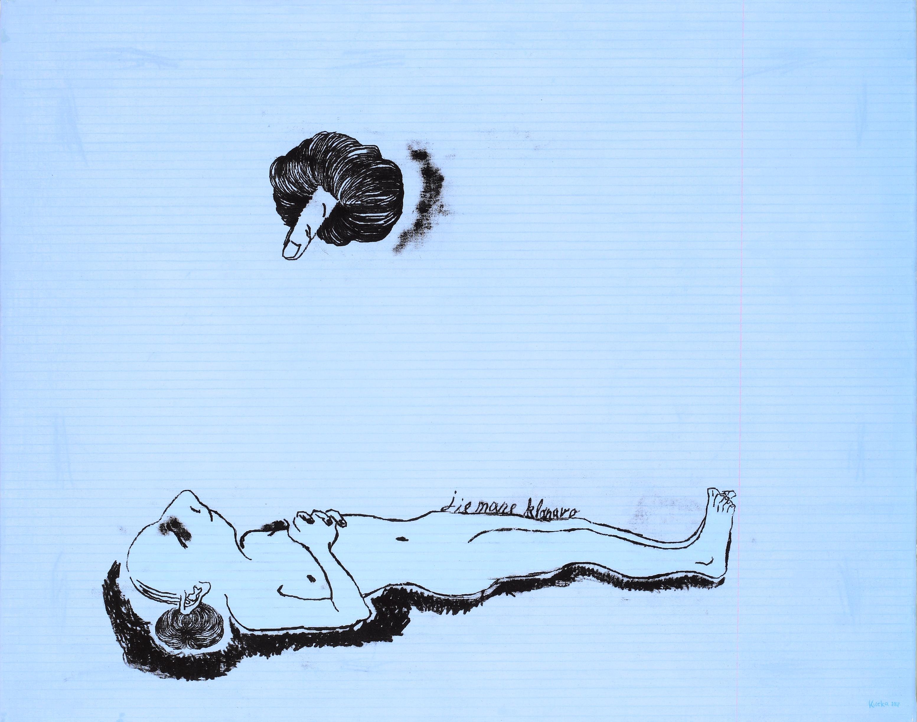 """Eglė Kuckaitė. """"Jie mane klonavo"""". 2007, drobė, aliejus, 80x100"""