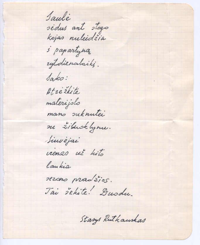 Stasio Rutkausko eilėraščio faksimilė