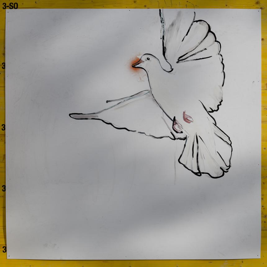 Gabrielio Marqueso piešinys Odminių skvere. Vytauto Narkevičiaus nuotrauka