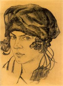 Vladas Didžiokas. Barboros Didžiokienės portretas. 1923–1924. Popierius, litografija.