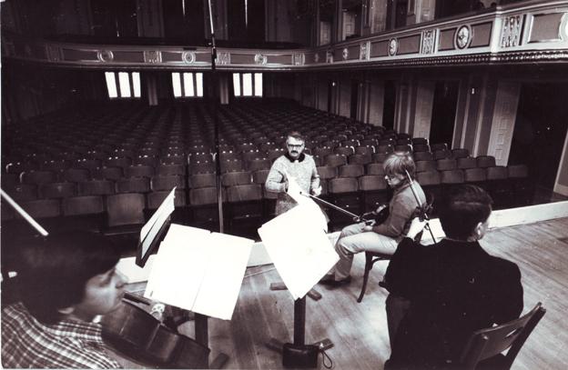 Repeticija su Valstybiniu Vilniaus kvartetu Mozarteume, Zalcburgas, 1983 m.
