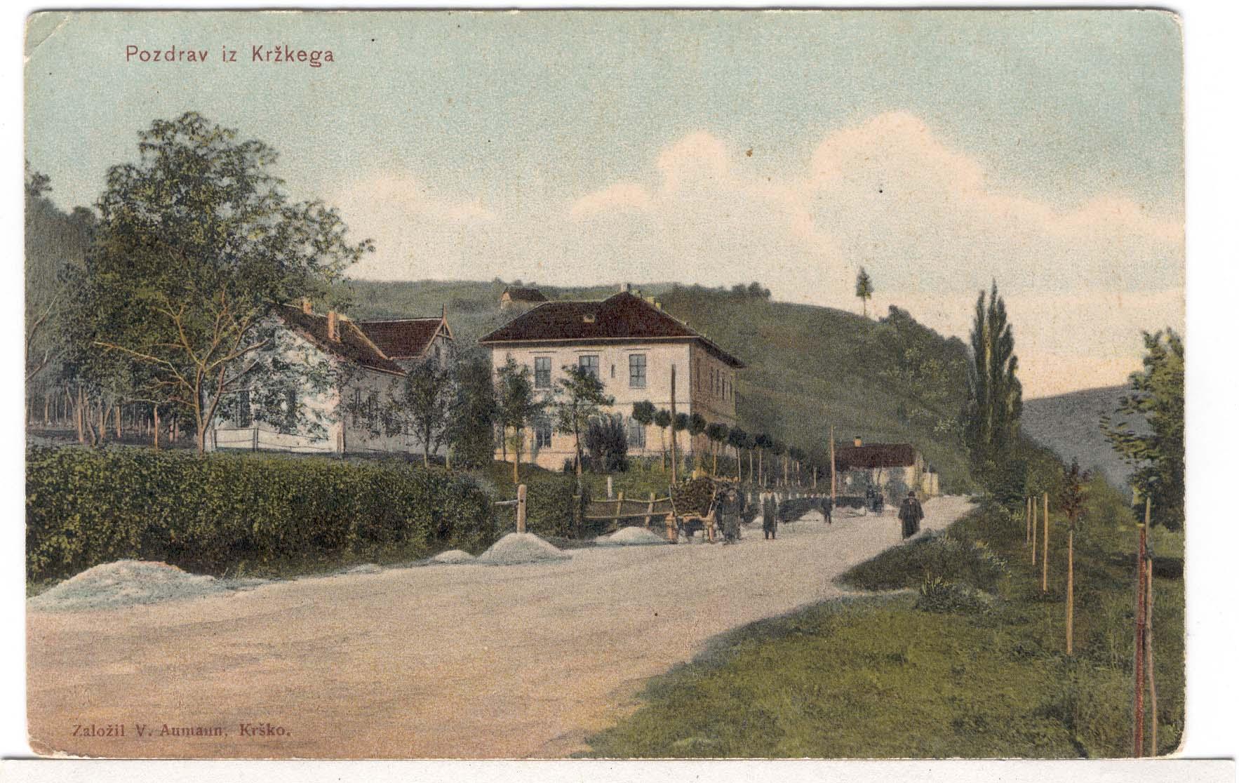 Pirmoji ligoninė XIX a. pab.  Atvirukas iš Krško Valvasoro bibliotekos archyvo