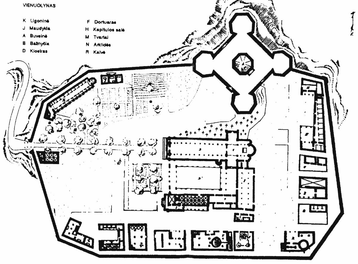 """Žemėlapis iš Umberto Eco """"Rožės vardo"""" (V.: Alna, 1991)"""