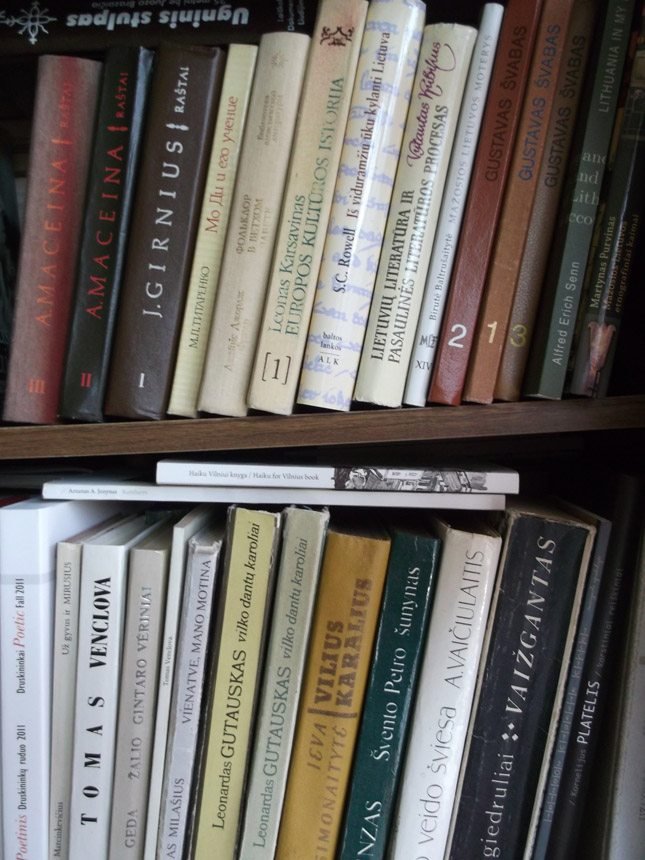 Rašytojos Astridos Petraitytės knygų lentynos