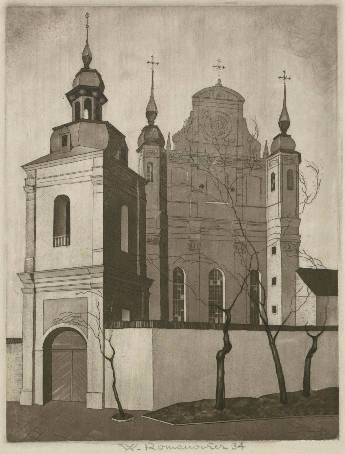 """Walenty Romanowicz  (1911–1945?). """"Šv. Mykolo bažnyčia"""". Akvatinta, 1934"""