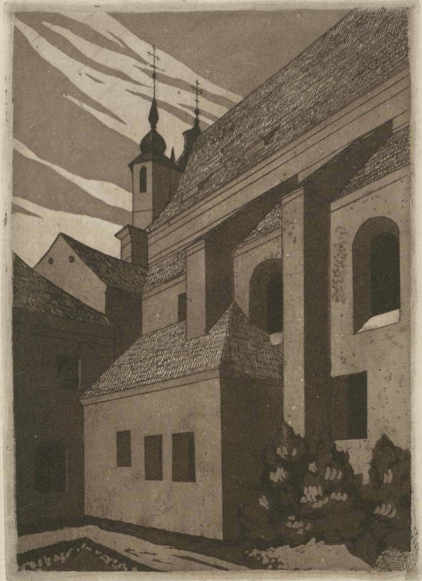 """Walenty Romanowicz. """"Šv. Mykolo bažnyčia"""". Akvatinta, 1933"""