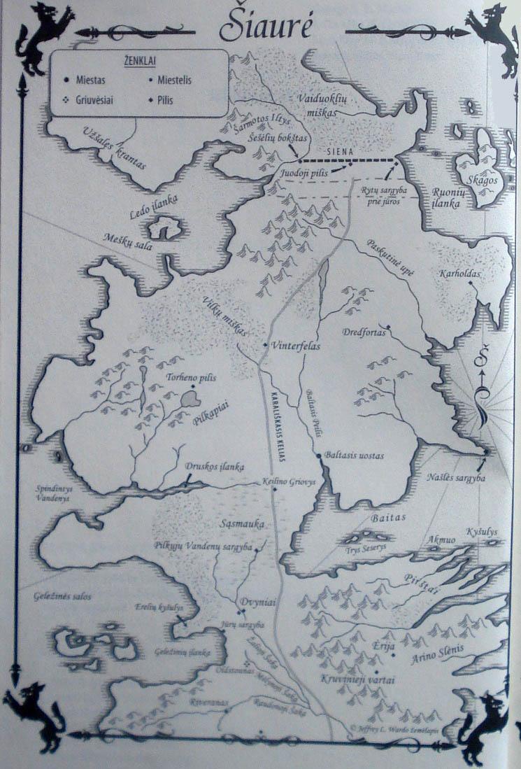 """Žemėlapis iš: George R. R. Martin. """"Sostų žaidimas"""". V.: Alma littera, 2012."""