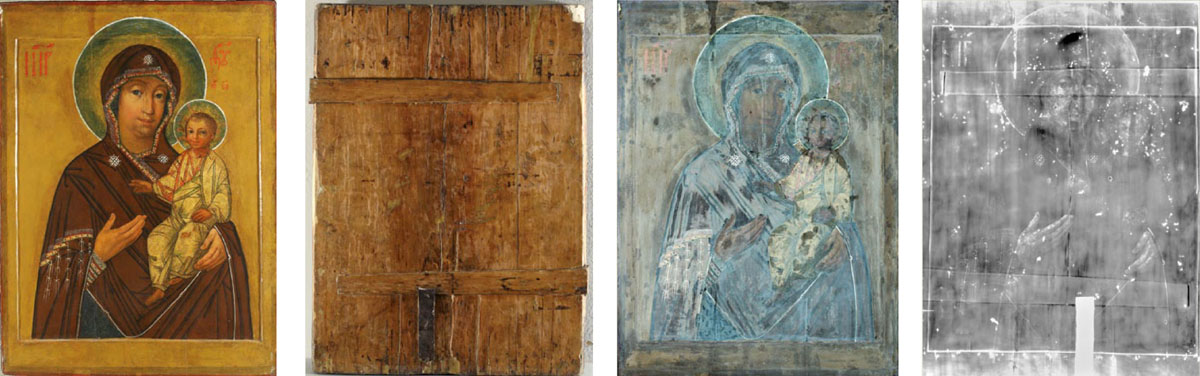 1. Lukiškių Dievo Motinos ikona prieš restauravimą. 2.Skydas iš dviejų liepinių lentų, kuriame matyti kirvio ir skobimo įrankio pėdsakai. 3.  Ikona apšviesta ultravioletiniais spinduliais.  4.Ikonos rentgeno nuotrauka