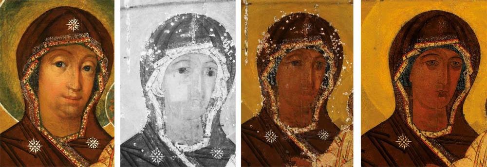 1. Madonos veidas prieš restauravimą. 2. Infraraudonųjų spindulių nuotrauka. 3. Restauravimo metu. 4. Po restauravimo