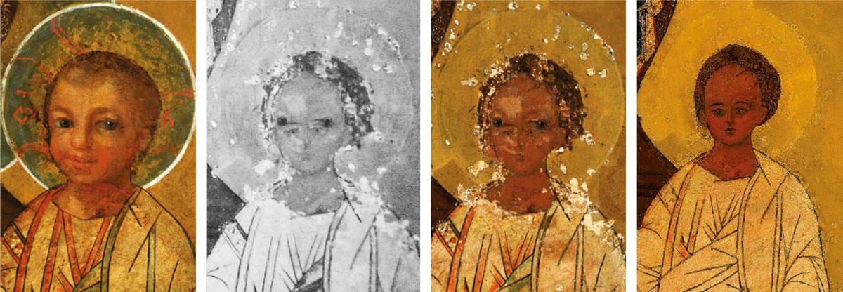 1. Kūdikio veidas prieš restauravimą. 2. Infraraudonųjų spindulių nuotrauka 3. Restauravimo metu 4. Po restauravimo