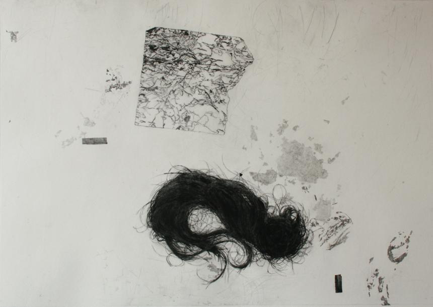 """Elena Grudzinskaitė. """"nr.1"""", iš ciklo """"Archyvas / Nieko asmeniško"""", 2012, sausa adata, 50 x 65cm."""