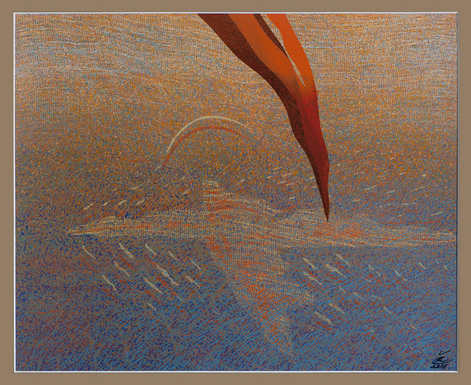 """Romualdas Čarna. """"Ateina ugnelė, ateina"""". 2010. 70x80."""
