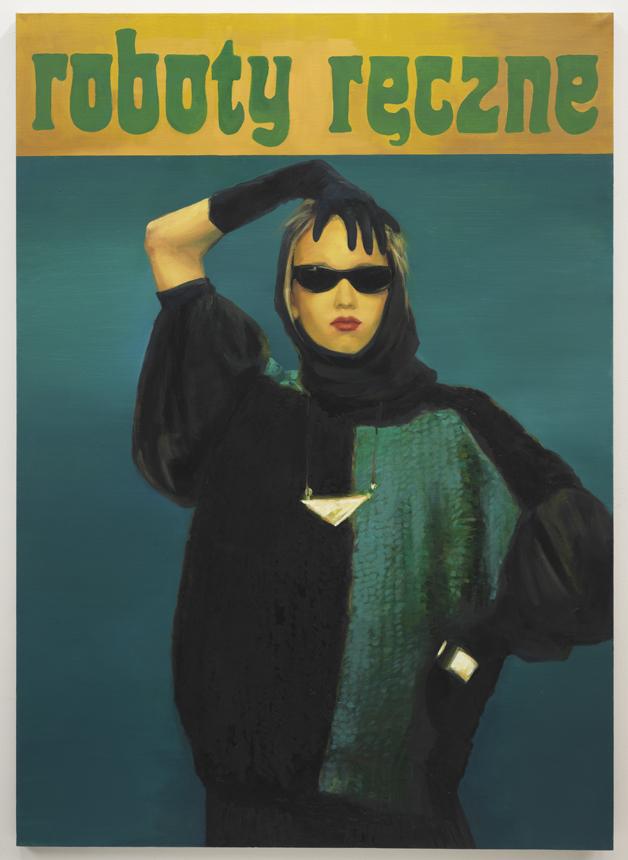 """Paulina Olowska. """"Vilnoniai megztiniai"""", 2010, aliejus, drobė, 175 x 125 cm.Menininkės ir galerijos """"Metro Pictures"""" nuosavybė."""