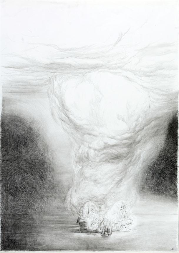 """Mindaugas Lukošaitis. """"Namas"""". 2007, pieštukas, popierius, 86 x 61 cm"""
