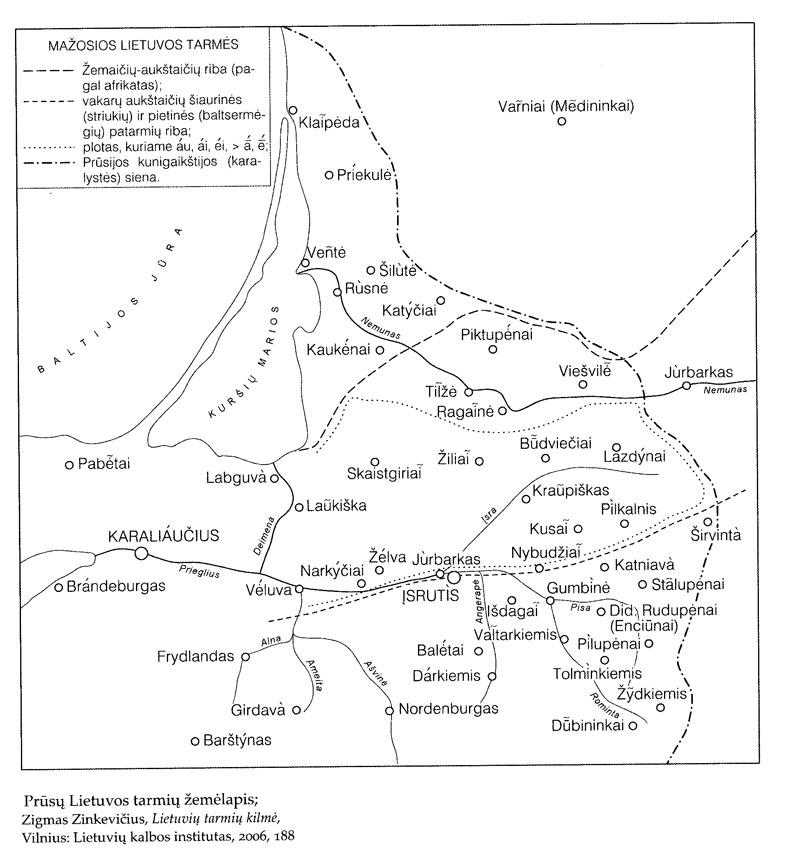 Prūsų Lietuvos tarmių žemėlapis (Zigmas Zinkevičius. Lietuvių tarmių kilmė. – Vilnius: Lietuvių kalbos institutas, 2006)
