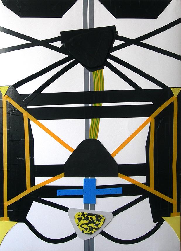 """Gabrielė Gervickaitė. """"Kosminė operacija 2"""". 2012. Popierius, mišri technika. 100x70."""