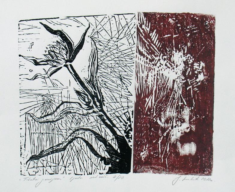 """Jolanta Sereikaitė. """"Tibetinis gencijonas"""". Spalvotas medžio raižinys. 2012"""