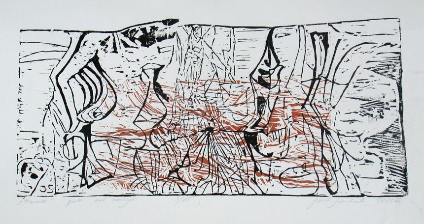 """Jolanta Sereikaitė. """"Formos"""". Spalvotas medžio raižinys. 2010"""
