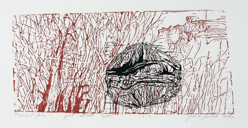 """Jolanta Sereikaitė. """"Plaukianti forma"""". Spalvotas medžio raižinys. 2010"""
