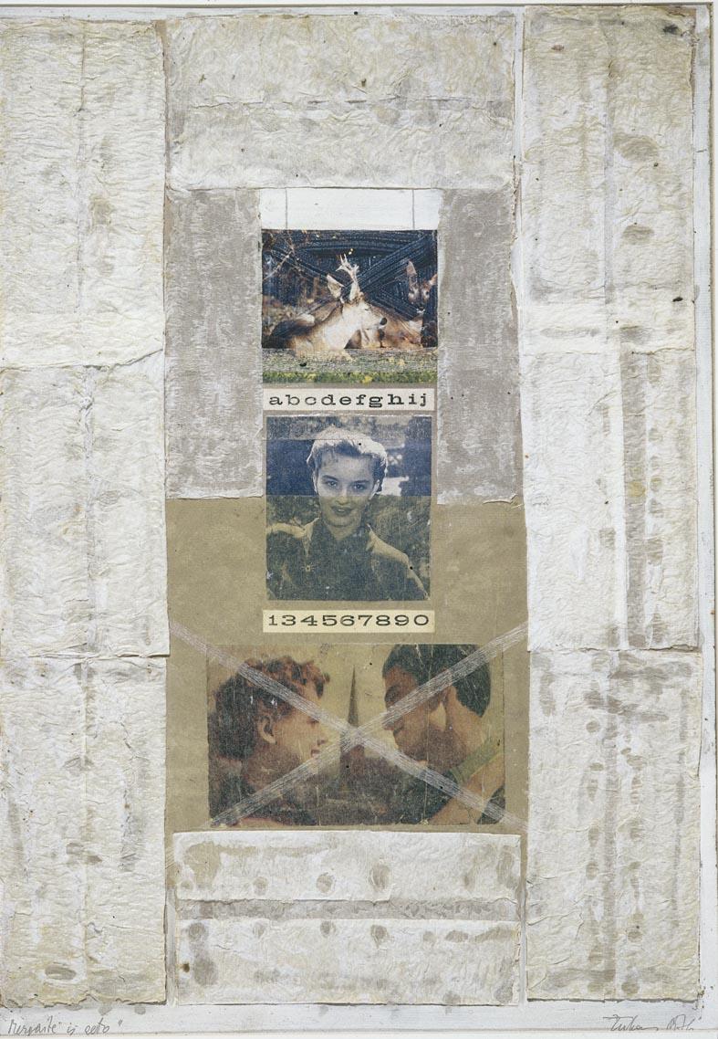 """Vaidotas Žukas. """"Mergaitė iš geto"""". 1976. Popierius, tempera, koliažas. 74x42 cm. Iš vasario 5 dieną Vilniaus žydų viešojoje bibliotekoje (Gedimino pr. 24-9), minint Vilniausgeto metus,atidarytos vieno paveikslo parodos."""