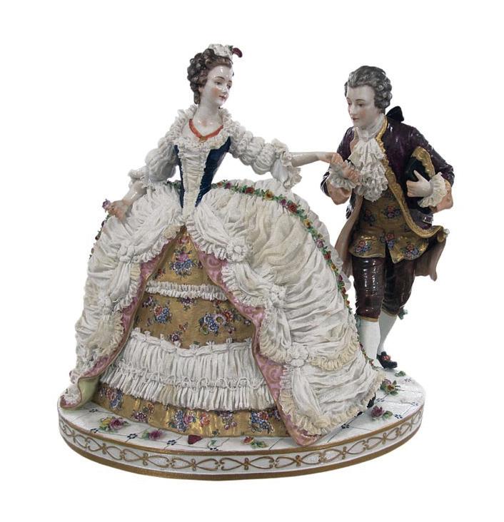 Dama su kavalieriumi. XIX a. pab. Folkšteto porceliano  manufaktūra, Vokietija