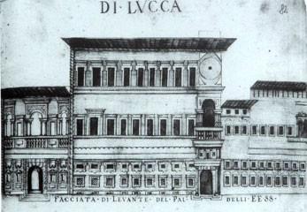 Pietinis Kunigaikščių rūmų fasadas Lukoje (Frediano Puccini, 1629)