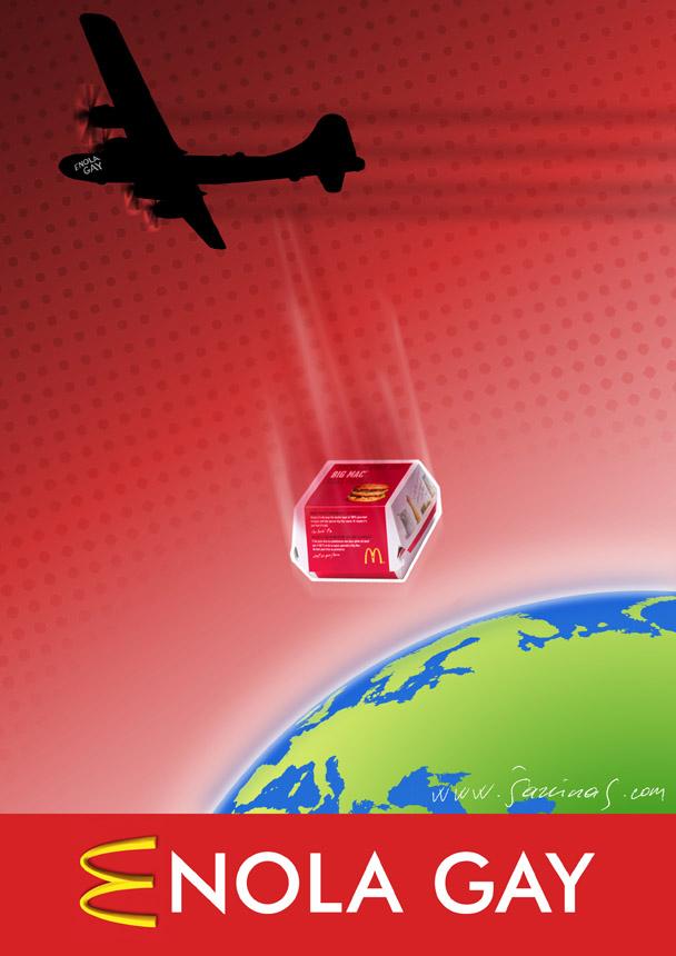 "Šarūnas Jakštas. (XXXVII Lietuvos karikatūrų paroda. www.humorsapiens.lt) ""Enola Gay"" – bombonešis B-29, kuris numetė atominę bombą ant Hirosimos"