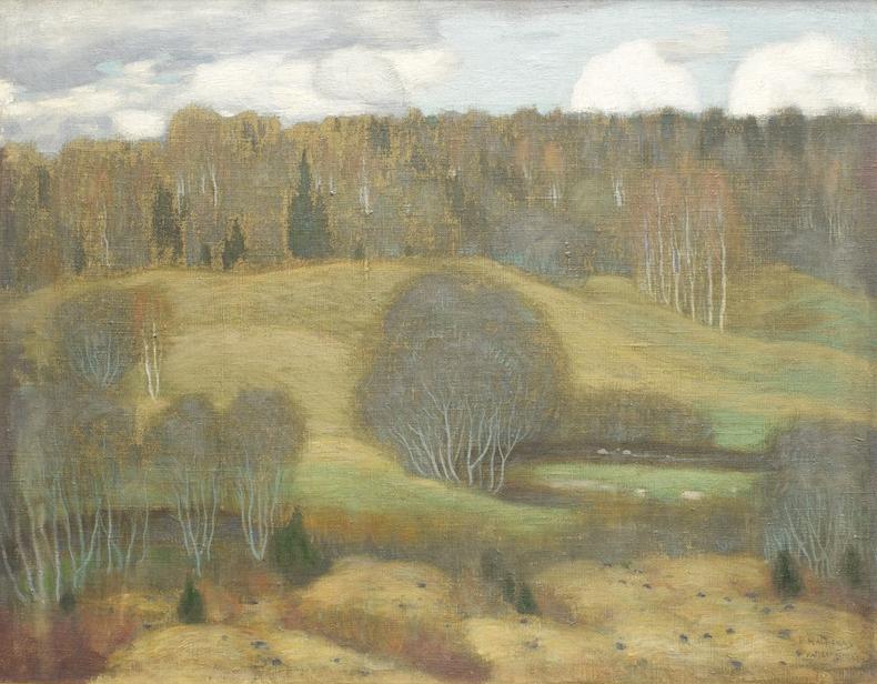 """Petras Kalpokas.""""Rudeniškas peizažas"""". 1904. Drobė, aliejus. 63 x 82,5 cm"""