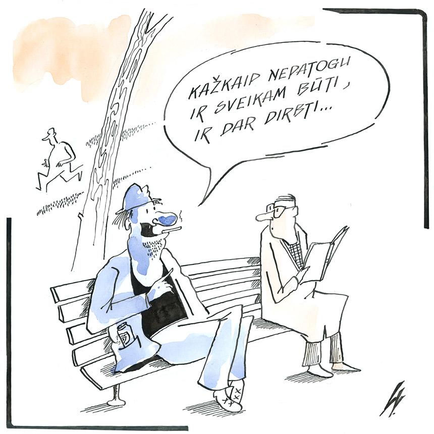 Leonidas Vorobjovas. (XXXVII Lietuvos karikatūrų paroda. www.humorsapiens.lt)