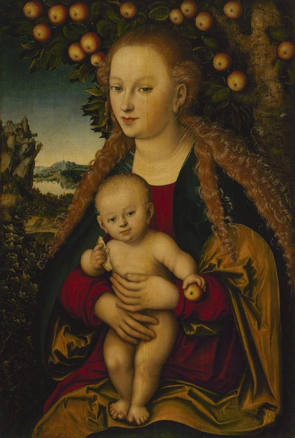 "Lucas Cranachas. ""Marija su Kūdikiu po obelimi""."