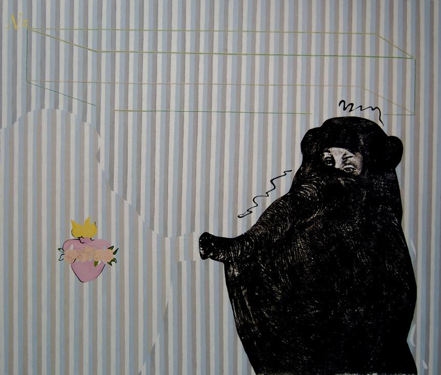 """Eglė Kuckaitė. """"Trauminis atvaizdas Nr. 2"""". 2007–2009, drobė, aliejus, 132x155"""