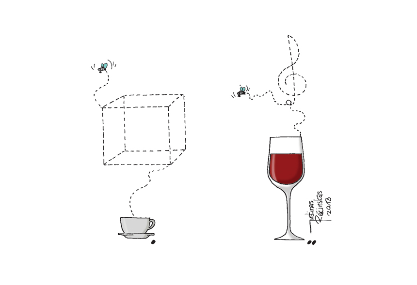 "Socialinės karikatūros konkurso ""Vynas ir kava"" I vieta – Justinas Račinskas (Vilnius, Lietuva)"