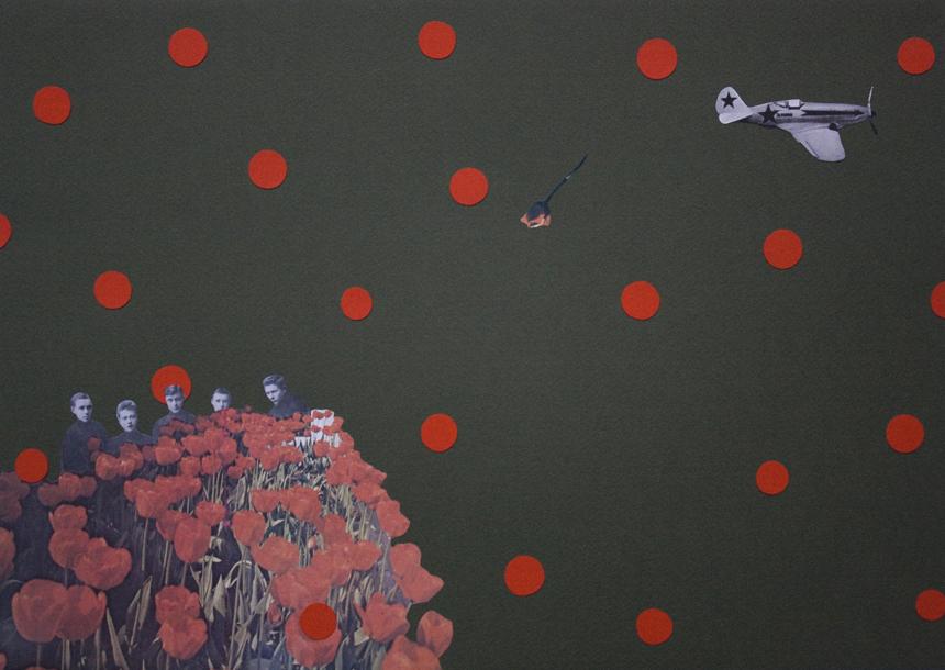 """Toma Šlimaitė. """"Nr. 9"""" iš koliažų serijos """"Mirties akivaizdoje"""". 2012, kartonas, spalvotas popierius, fotografijos, 35x50 cm"""