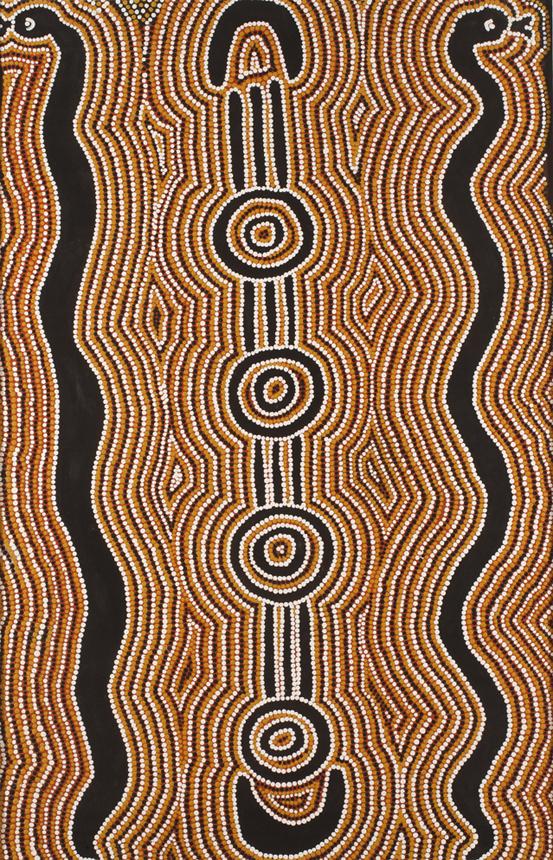 Judy Jigby Nubunady (Ladžamanu, Šiaurės Teritorija, Australija). Žaltys kūrėjas. XX a. pab. A. Lukšėno nuotrauka