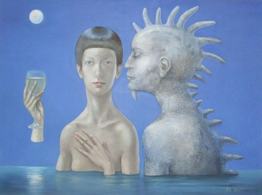 """Miglė Kosinskaitė. """"Blue Moon"""".  2012, drobė, aliejus. 120x160 cm"""