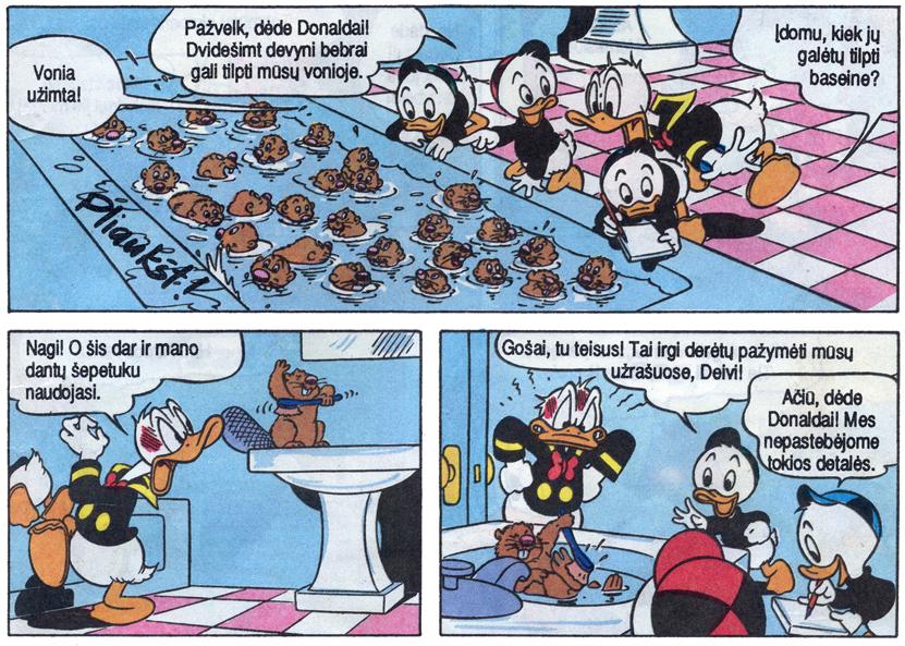 """Fragmentas iš žurnalo """"Mickey Mouse"""" pirmojo numerio lietuvių kalba, 1991, """"Respublikos"""" leidyba"""
