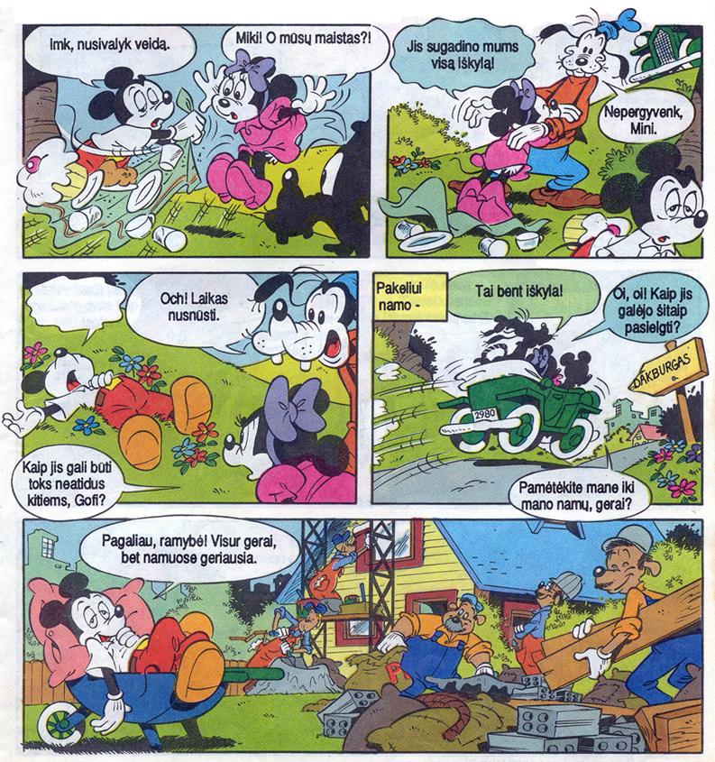"""Fragmentas iš žurnalo """"Mickey Mouse"""" pirmojo numerio lietuvių kalba, 1991, """"Respublikos"""" leidyba. Komiksai iš asmeninio E. Visockaitės archyvo rūsyje"""