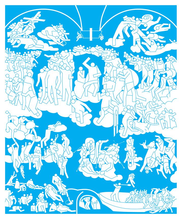 """Stano Masár. """"Po Michelangelo / Paskutinis teismas"""". 2008, spauda, tentas, dydžiai kintantys."""