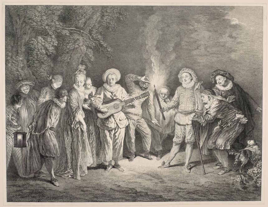 Charles Nicolas Cochin (1688–1754). Meilė italų teatre. Pagal Antoine'ą Watteau Luvro muziejus, Grafikos meno skyrius, Edmond'o de Rothschildo kolekcija © RMN-Grand Palais (Luvro muziejus) / fot. Angèle Dequier / Lietuvos dailės muziejaus Ryšių su visuomene centras