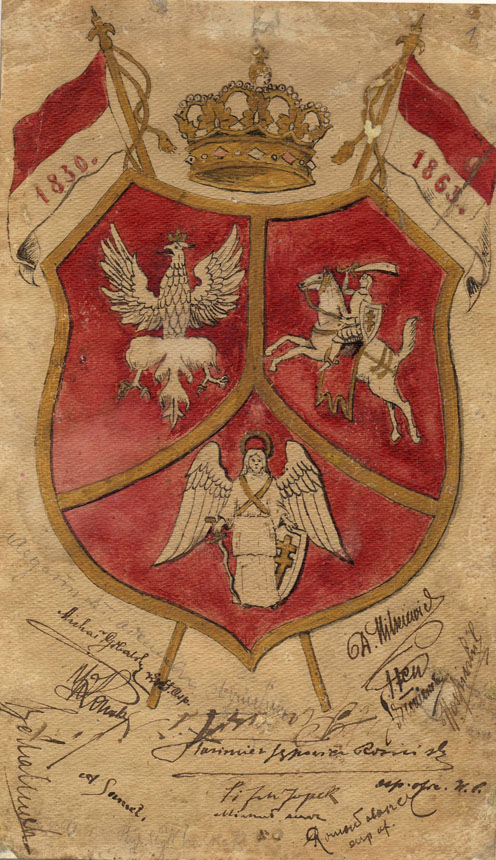 """1863 m. sukilimo laikų piešinys su nežinomų asmenų parašais, simbolizuojantis Lietuvos, Lenkijos ir Baltarusijos draugystę ir vienybę (LMAVB RS F 37-111279). Iš Lietuvos mokslų akademijos Vrublevskių bibliotekoje iki spalio 18 d. veiksiančios parodos """"1863 metų sukilimo dalyvių gyvenimo vaizdai dokumentuose""""."""