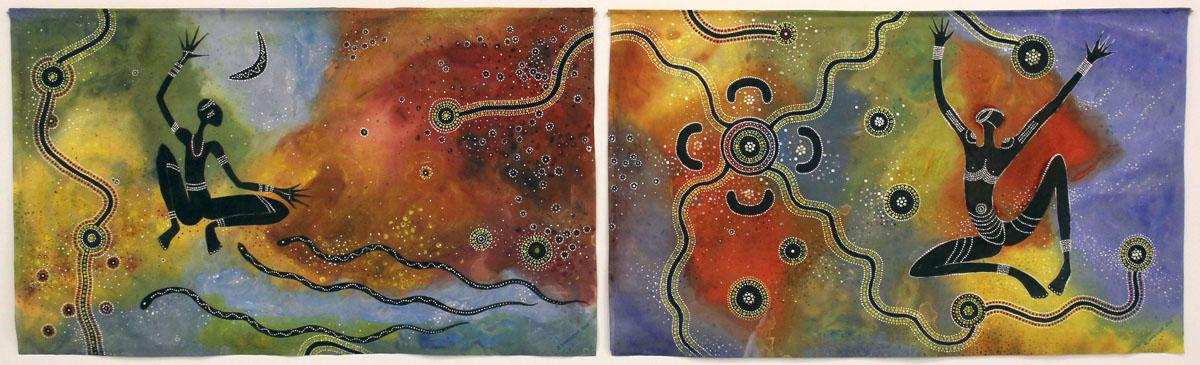 """Zinaida Irutė Dargienė. """"Aborigenų žemė"""", tapyba ant šilko"""