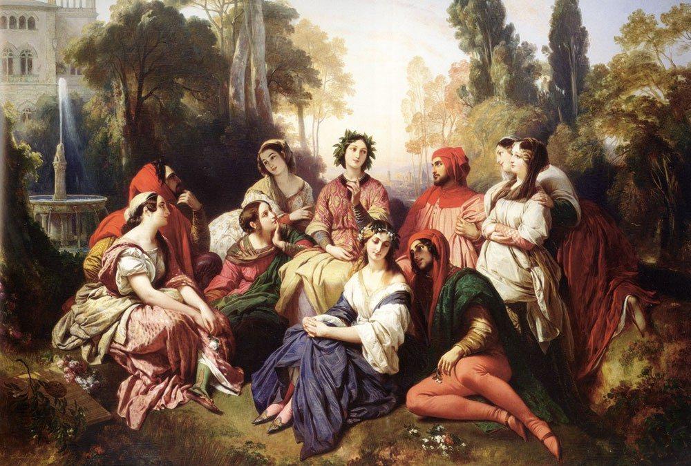 "Franz Xaver Winterhalter (1805–1873). ""Dekameronas"". 1837, drobė, aliejus, 190,5x254 cm"